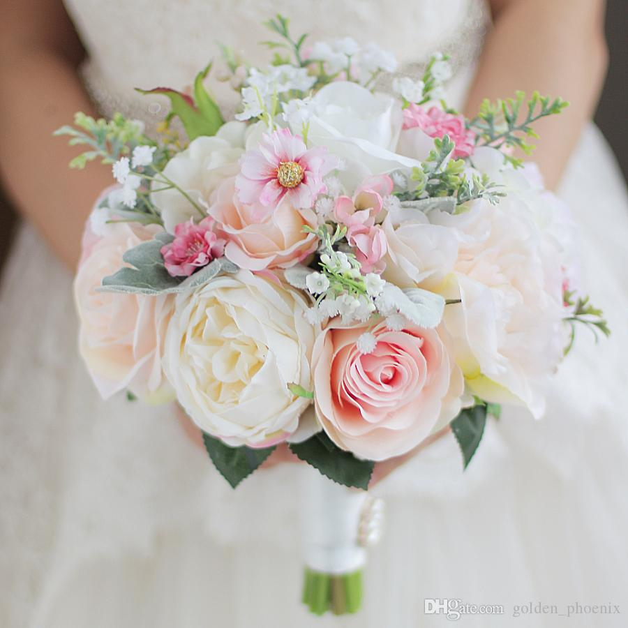 High End Custom Bridal Bouquet Of Green Leaves Pink Ivory