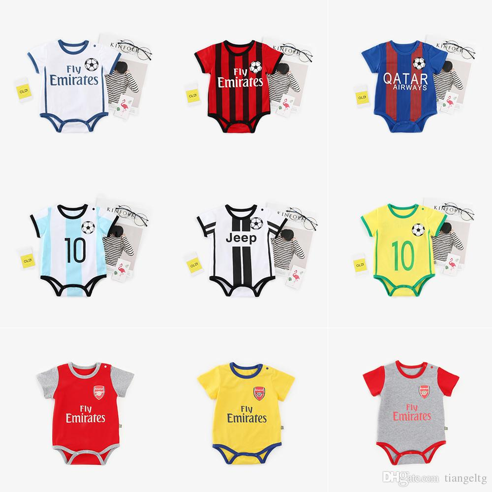 93ce42543 2019 Baby Print Rompers 45 Designs Boy Girls World Cup Football Team Cactus  Watermelon Rainbow Newborn Infant Baby Girl Boys Summer Clothes 0 12M From  ...