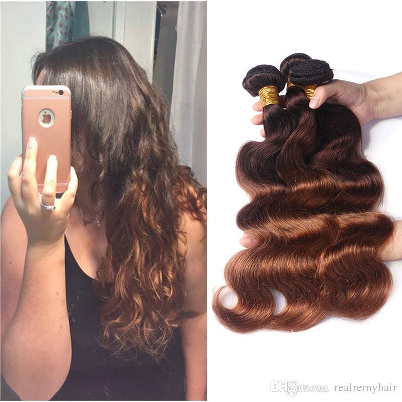 Colored Brazilian Ombre Human Hair Weave Bundles Wholesale Ombre 4