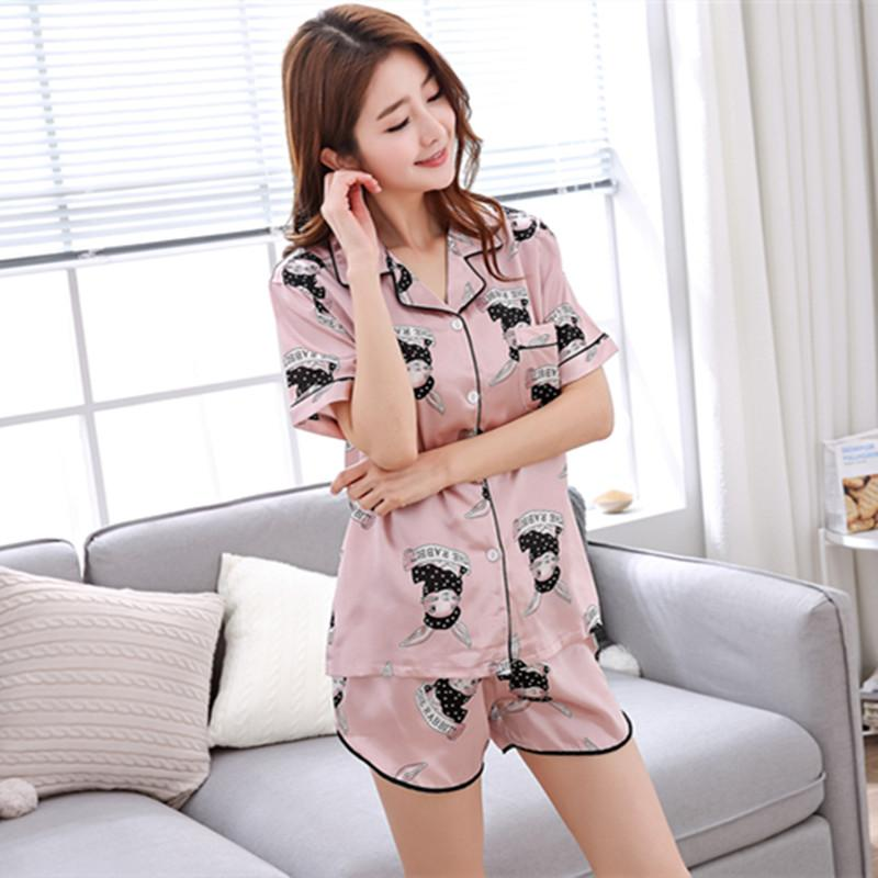 0ba748d60b 2019 MISI Cartoon Pajamas Cute Nighty Silk Fashion Home Suit Lovely Casual  Home Service Sleepwear Short Sleeve Clothes Women From Walkerstreet