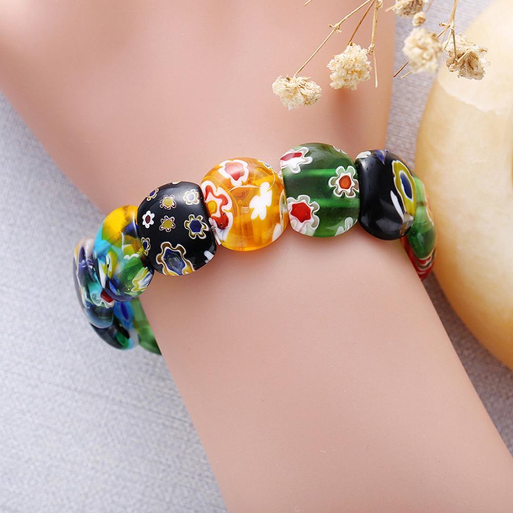 Braccialetto di fascino in vetro di Murano donne. Braccialetto di perline d'ispirazione muranese