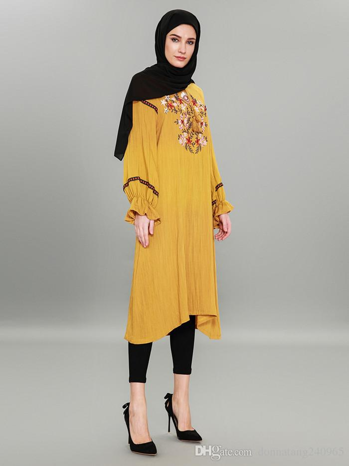 Islamic Clothing Embroidery Loose Shirt Dresses Sweet Fashion Muslim Hui Women Blouse Long Sleeve Tops Abaya Dubai Malaysia