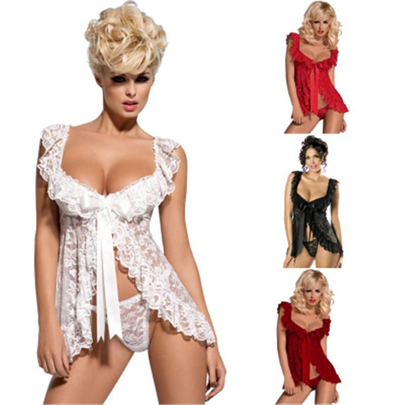 7cb00a3a5 Baby Doll Sexy Lingerie Plus Size Transparent Lace Sleepwear Porn Dress Deep  V Neck Hot Erotic Babydoll Sexy Underwear Costumes D18110801 Womens Sexy ...