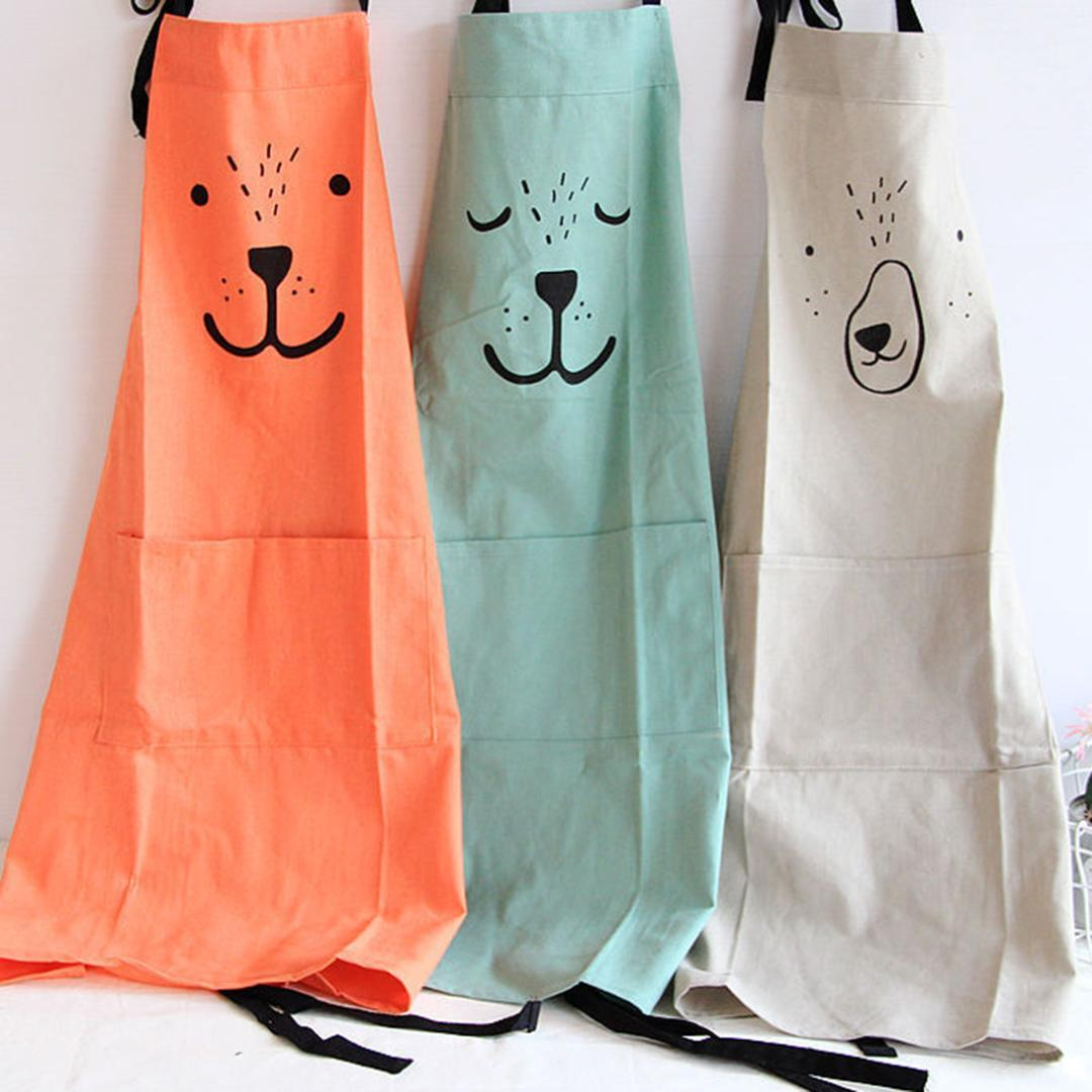 Simle Style Kitchen Apron Parent Child Cute Pattern Working Apron Kitchen  Cooking Baking Painting With Pocket