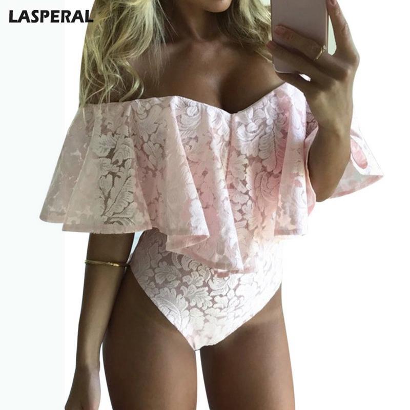 20187 LASPERAL Brand Ruffle Women Bodysuit Draped Short Sleeves ... 480653ae0