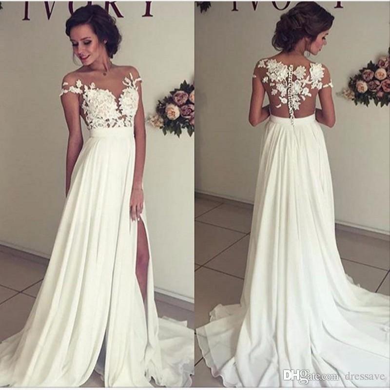 Discount 2019 Summer Beach Chiffon Wedding Dresses Lace Top Short Sleeves  Illusion Neckline Side Slit Garden Elegant Bridal Gowns Tea Length A Line  Wedding ... 6cd042a2db5b