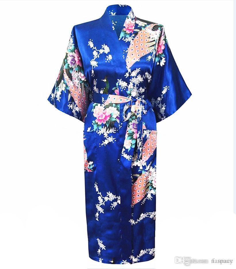 5df920629e036 Compre Venta Al Por Mayor Azul Hembra Faux Seda Bata Mujer Pijama Estilo De  China Ropa De Dormir Vestido De Baño De Verano Kimono Tallas Grandes S M L  XL ...