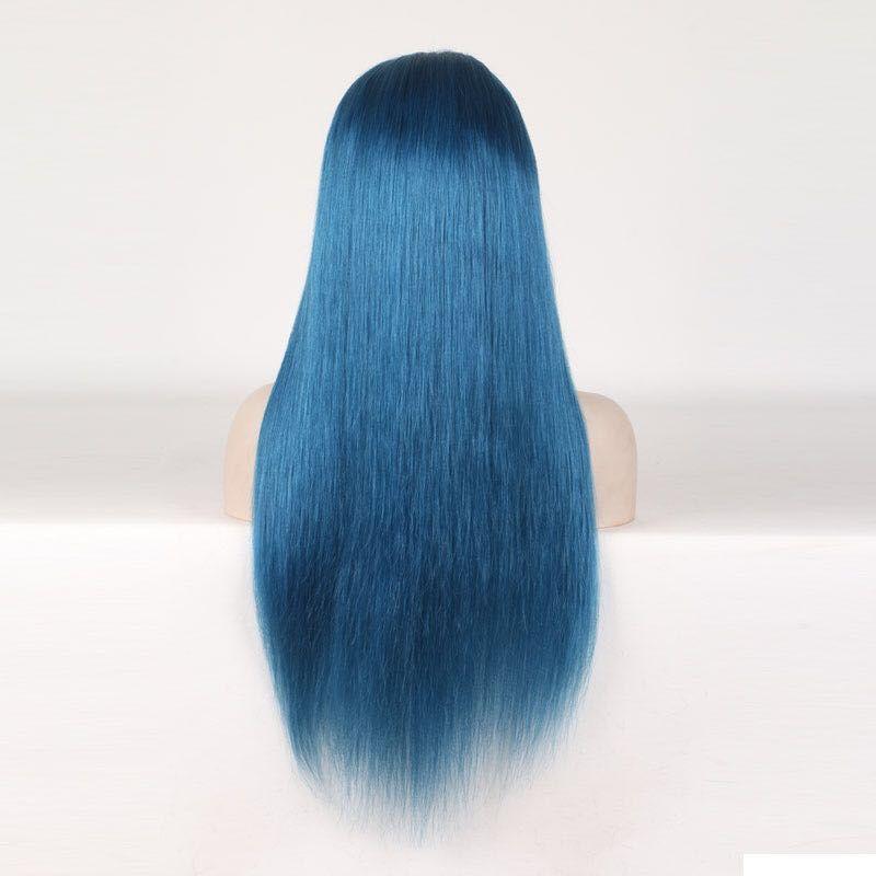 Cheia Do Laço Perucas de Cabelo Humano Azul Perucas Coloridas para a Mulher Pré Arrancado Com o Cabelo Do Bebê Brasileiro Remy Perucas de Cabelo Comprimento 10--24 polegada