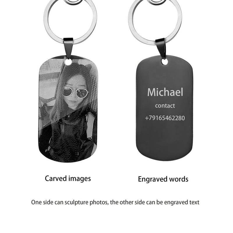 iMucci Personalized Customized Pictures Image Pendant Necklace Stainless Steel Engraved Both Side Tag Text Photo Key Chains