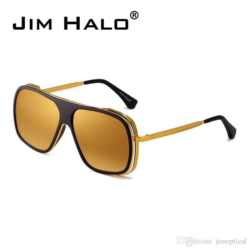 ecd430360df Jim Halo Flat Top Mirrored Designer Sunglasses Square Clear Lenses ...