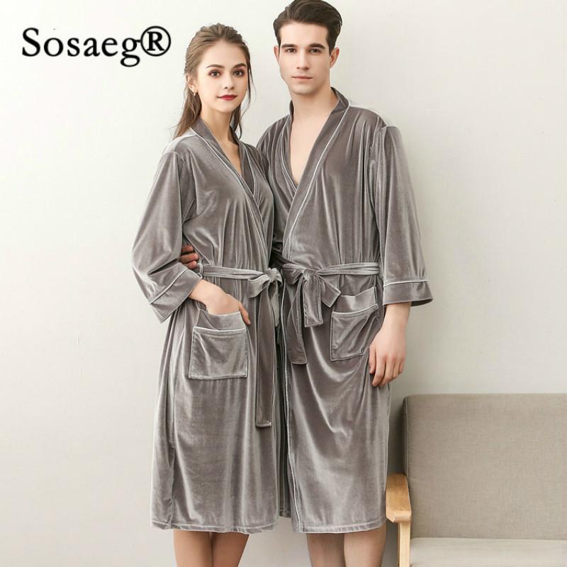 579cd35aca 2019 Sosaeg Satin Robe Pyjama Peignoir Femme Summer Pleuche Sexy Ice Silk  Thin Bathrobe Male Lovers Pajamas Sleepwear Robe Gown Sets From Liangcloth