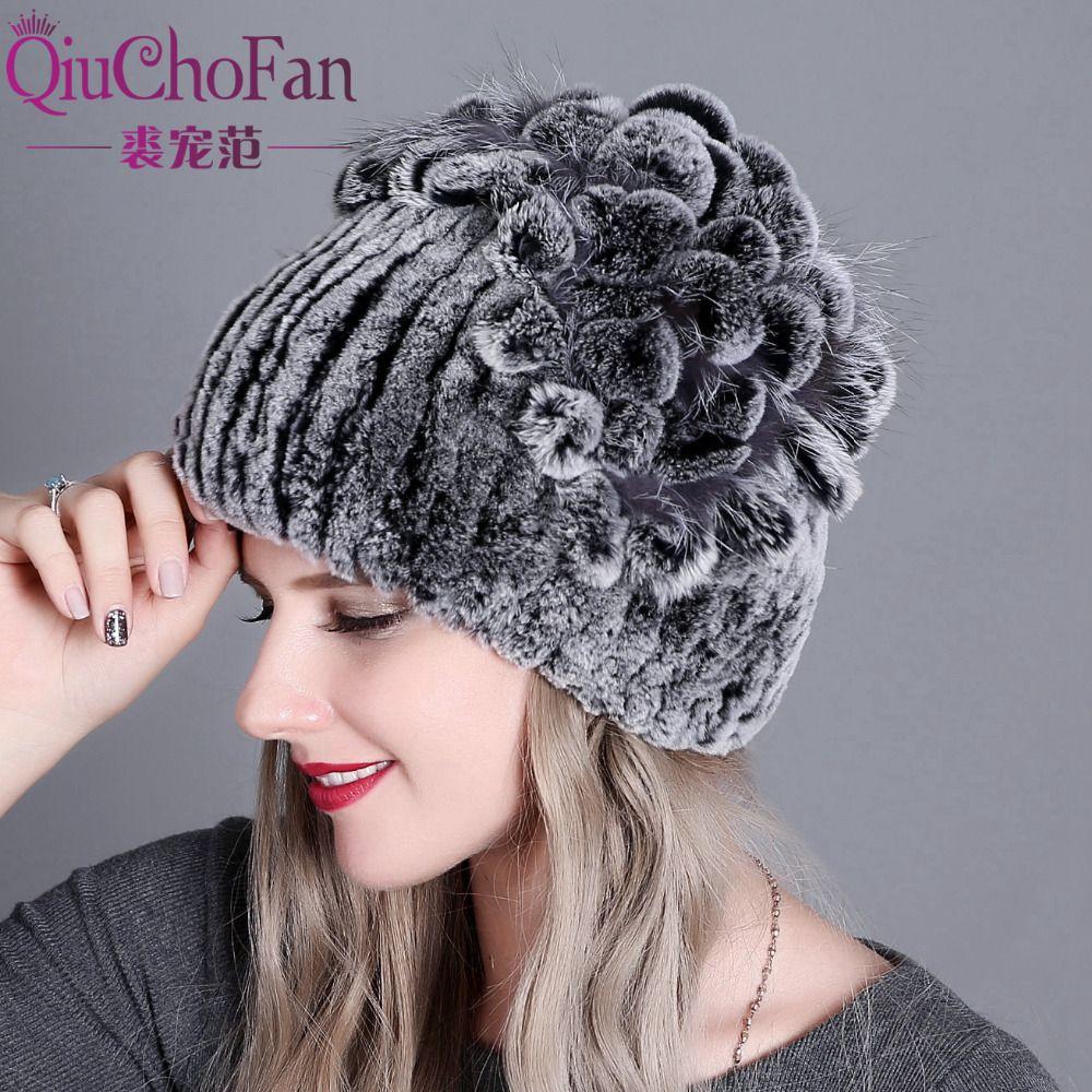 88acf653a64 Winter Rex Rabbit Fur Hafor Women with Fox Fur Pom Poms Top Knitted ...