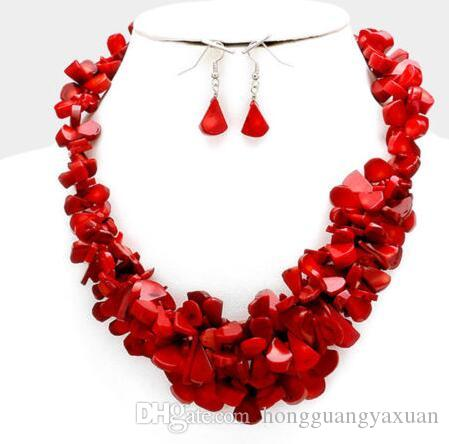Southwestern Cowgirl Red Coral Cluster Chunky Bib Multi Strand Necklace set