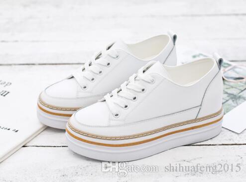 Compre Gruesa Blancos Verano De A 63 Ocio Suela Zapatos 2018 51 Altos Zapatos De Moda Pastel Hembra Mujeres Salvaje De Del Cuero Blanco Nuevas rIq5r