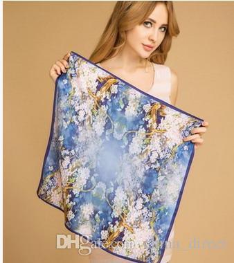 100% kvadratiska silke halsdukar Silk Scarf Wraps Shawls Ponchos Sjal 20st /