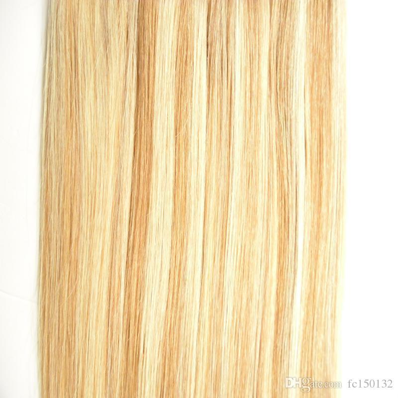 Trama de la piel P27 / 613 Cinta de color del piano en el pelo recto 80 Pieza Remy a máquina de la máquina en los adhesivos Extensiones de cabello de doble cara de la cinta 200g