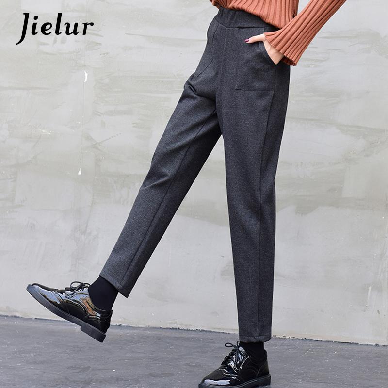Jielur 2017 coreano casual pantalones harem mujeres otoño invierno suelto negro gris bolsillos capri cintura elástica pantalones de lana hembra m-xxl