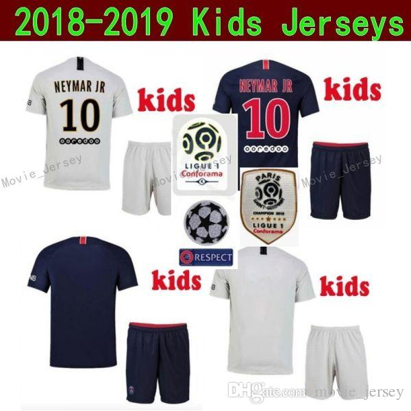 low priced 6b5e6 3f7cb Youth 2019 Ligue 1 Soccer Paris Saint Germain DI MARIA Jersey PSG Kids  MBAPPE CAVANI SILVA Football kits Children Team Blue Custom Name