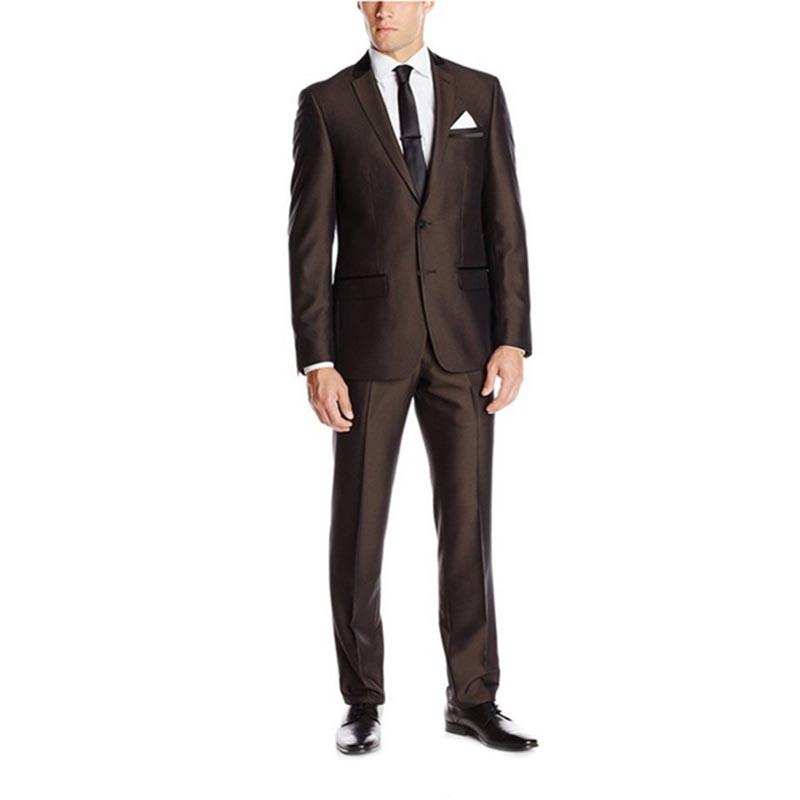 2017 Hot terno masculino Dark Brown Wedding Suits for Men Grooms Tuxedos Mens Suits Fit Groomsmen Suit (Jacket+Pant)