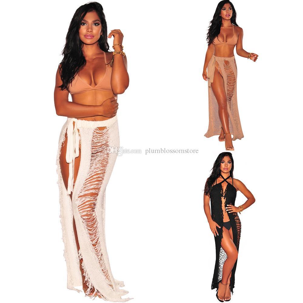 902d7c48e191a 2019 Women Bikini Beach Cover Ups Crochet Hollow Knit Skirt Summer Sexy  Bohemian Wrap Bandage Dress Swimwear Beachwear Seaside Sunscreen Dresses  From ...
