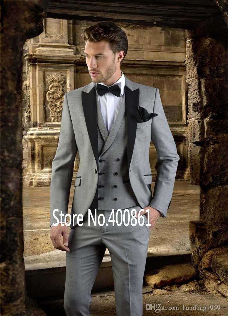 Klasik Stil Bir Düğme Açık Gri Damat Smokin Tepe Yaka Groomsmen Best Man Blazer Erkek Düğün Takımları Ceket + Pantolon + Yelek + Kravat H: 652