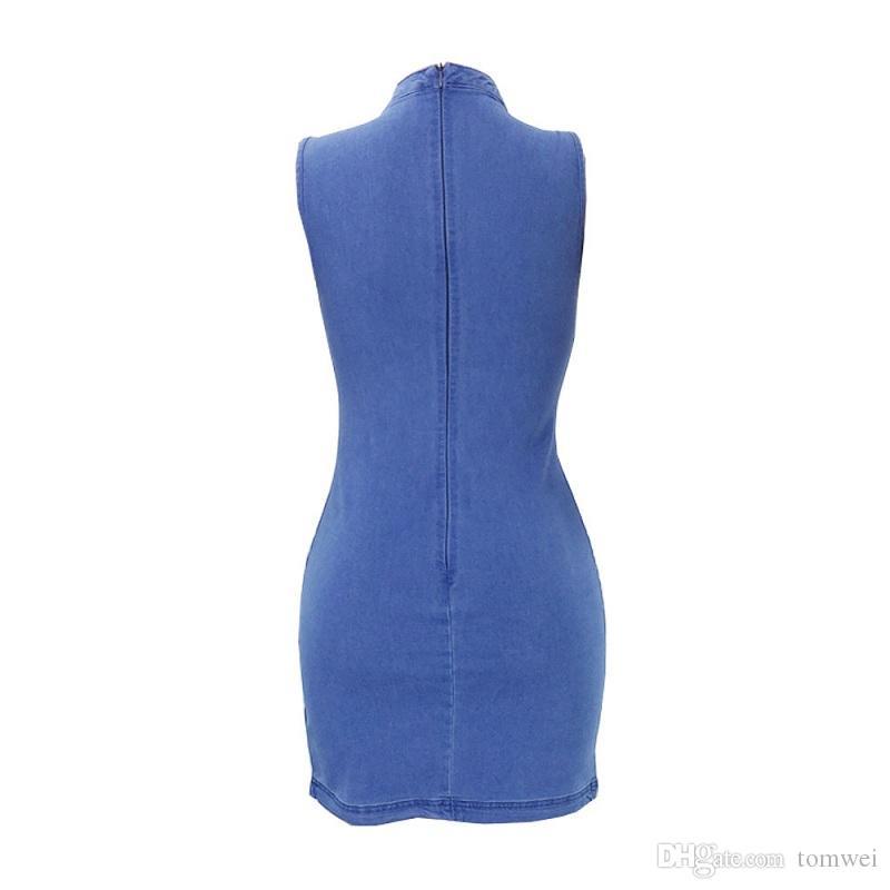 Vestidos bodycon para mujer verano vestidos casuales Denim Tops ropa de moda 2018 de alta calidad más tamaño de color sólido
