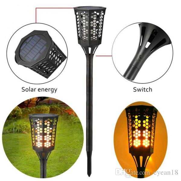 Solar Tiki Torch Lights LED Garden Waterproof Outdoor Courtyard Lamp Dancing Flame Flickering 96 LED Decorative Lights IP65