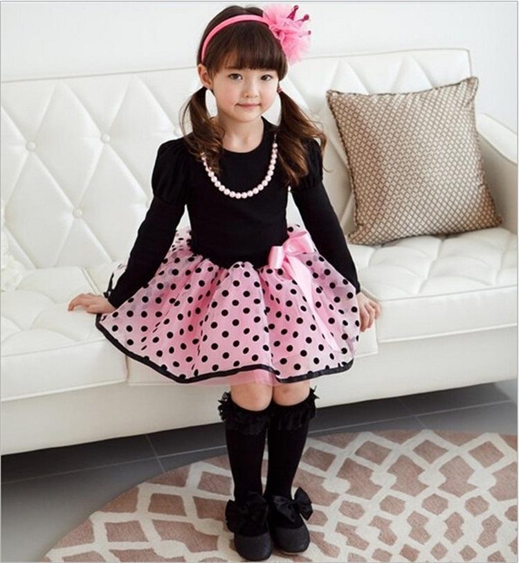 New Fashion Autunno Inverno Girl Dress Polka DotStriped Principessa Abiti da festa Ragazze Bambini Vestiti bambini Abbigliamento bambini