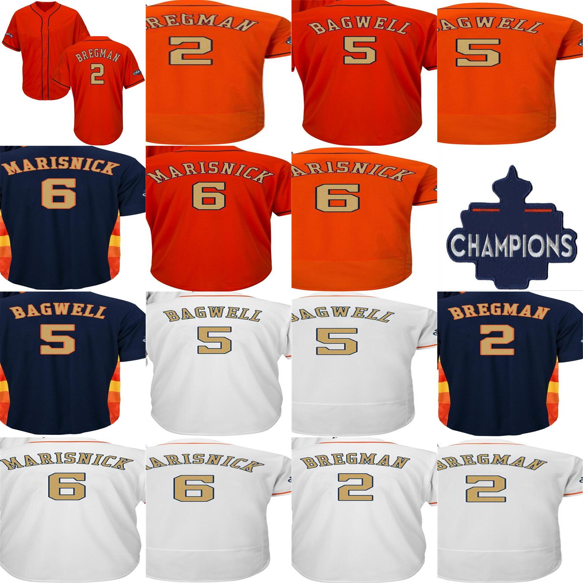 9ce559d4e Alex Bregman 5 Jeff Bagwell 6 Jake Marisnick Mens Womens Kids 2018 Gold  Program Houston 2017 WS Champion Patch Cool Flex Baseball Jerseys Sports  Jerseys ...