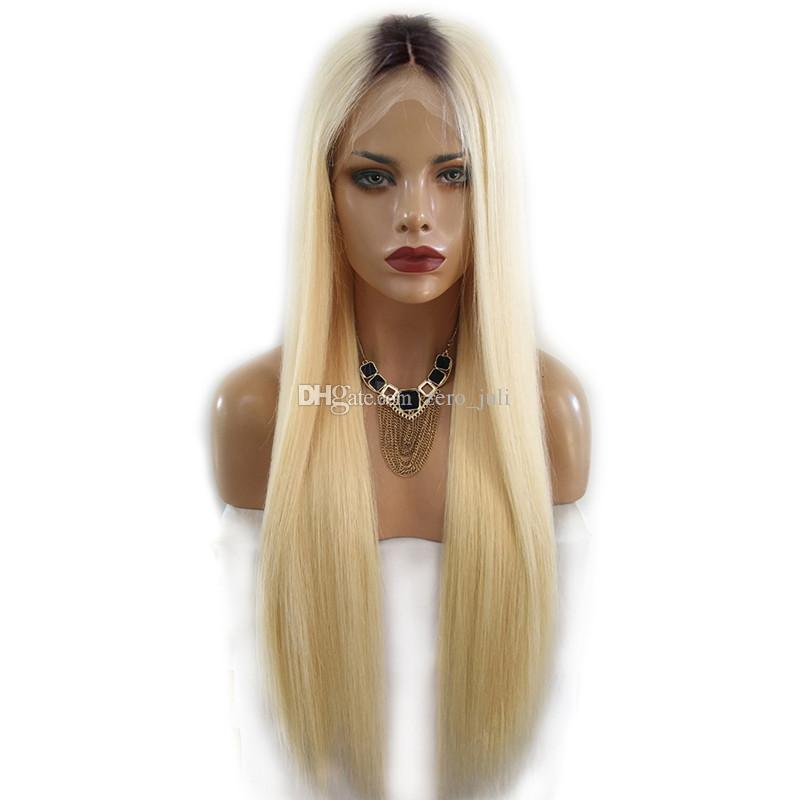 Brazilian Lace Front Wigs For Black Women 22inch Pre-Colored 1B 613 Blonde Ombre Color Straight Human Hair Lace Wig Dark Root Middle Part