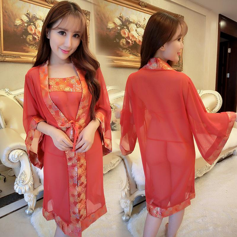 New Foreign Trade Sexy Lingerie Sexy Charming Mesh Gauze Perspective Set  Ladies Large Size Red Transparent Expensive Dress Sexy Pajama Sets Bra And  Panty ... e90117434