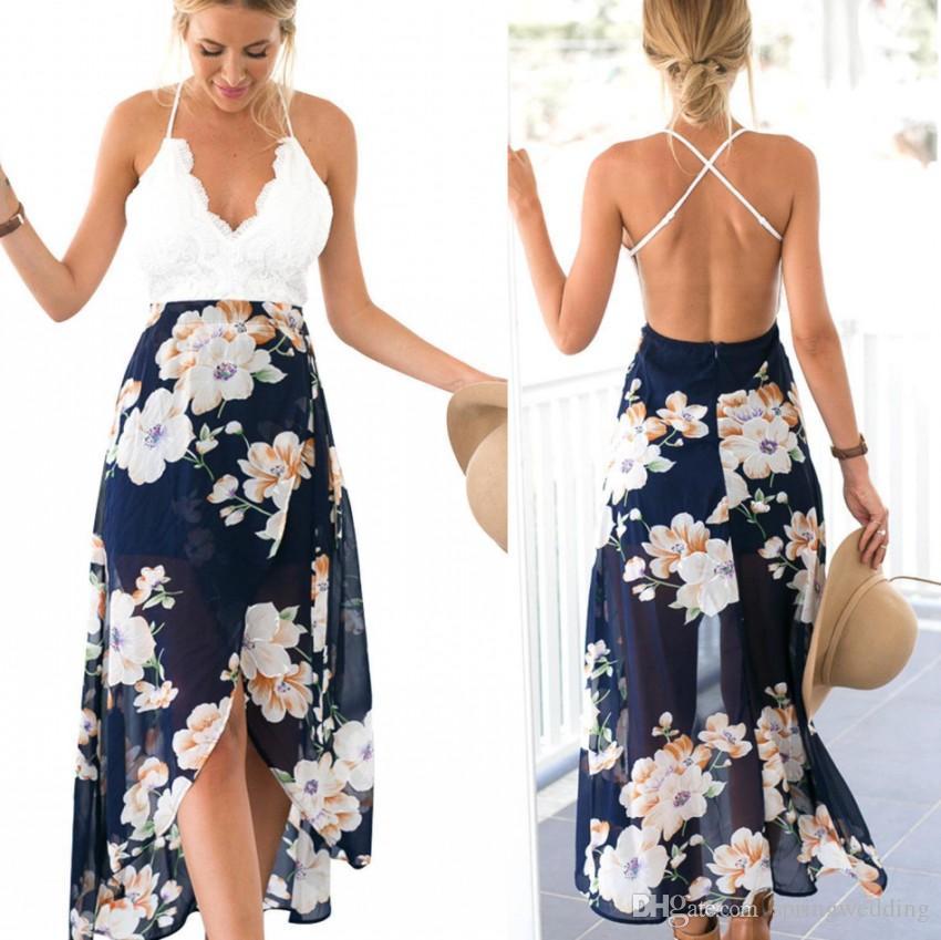 574107d89 Sexy Casual Boho Summer Long Beach Vestidos Impresos de Encaje Blanco  Ahueca Hacia Fuera los Vestidos Maxi Sin Espalda Bohemio Party Gowns FS2023