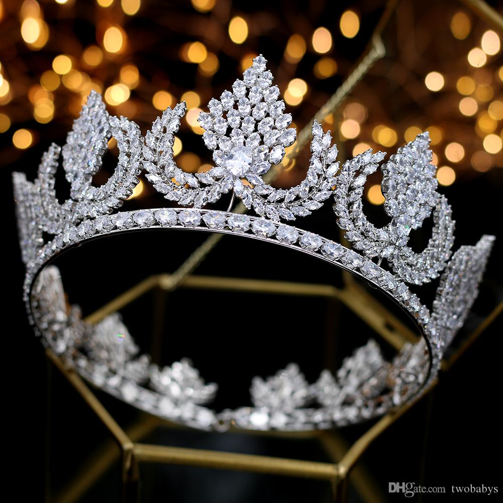 Deluxe Wedding Hair Jewelry silver zircon big round heavy Thiago and Crown King Crown Crown wedding Bride hair Accessories