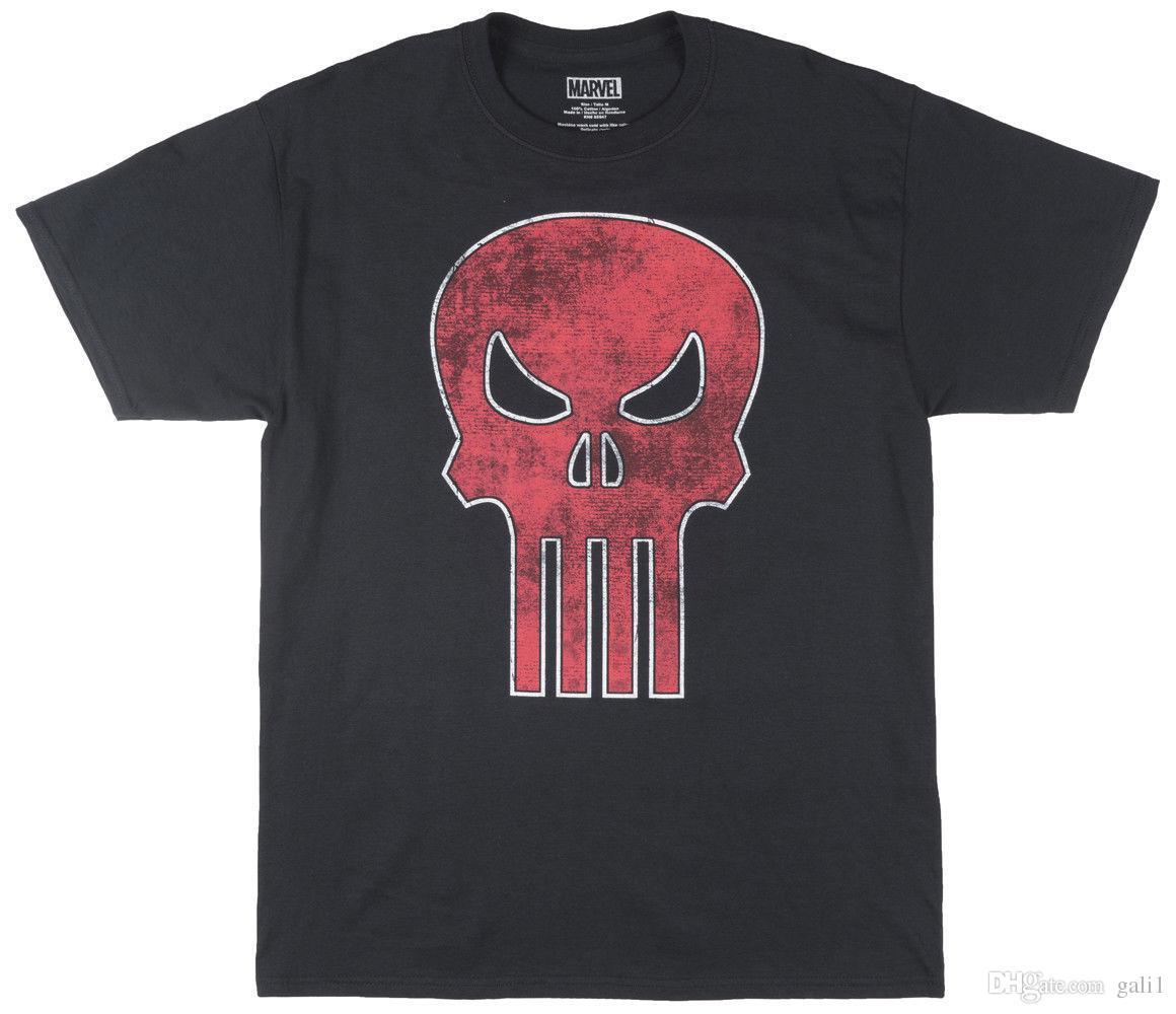 c352e9a55 Marvel Comics The Punisher Red Skull T-Shirt Mens Black
