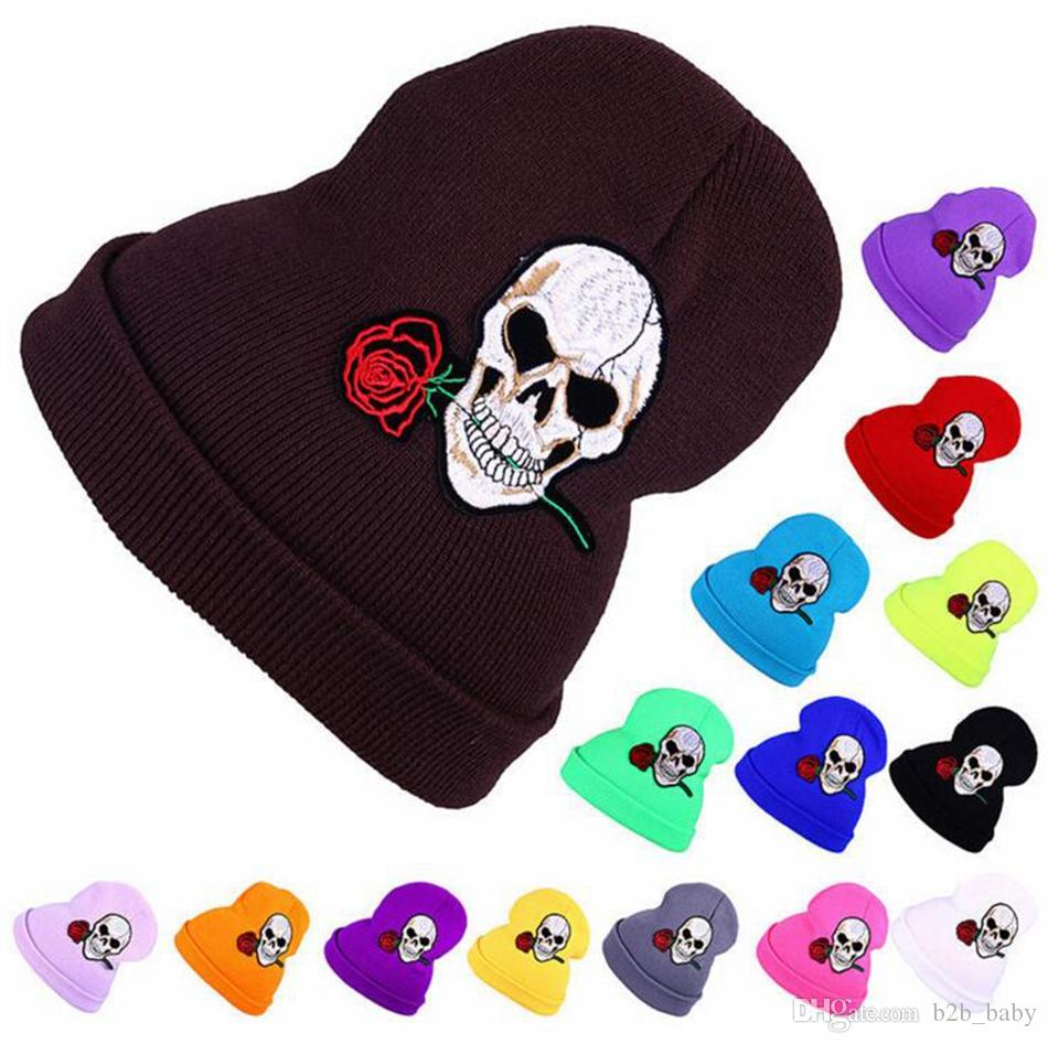 Knitted Hat Beanies Embroidery Skulls Rose Hip Hop Winter Warm Hat For Adult 15 Colors LJJO3837