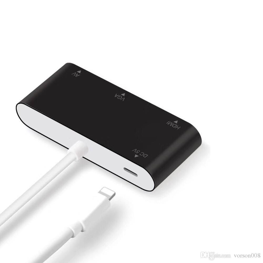 HDMI VGA Ses Adaptörü Yıldırım iPhone, iPad, iPod Projektör Monitör TV, HDMI VGA Aynı Zaman Çıkışı için Dijital AV Konnektör Kablosu