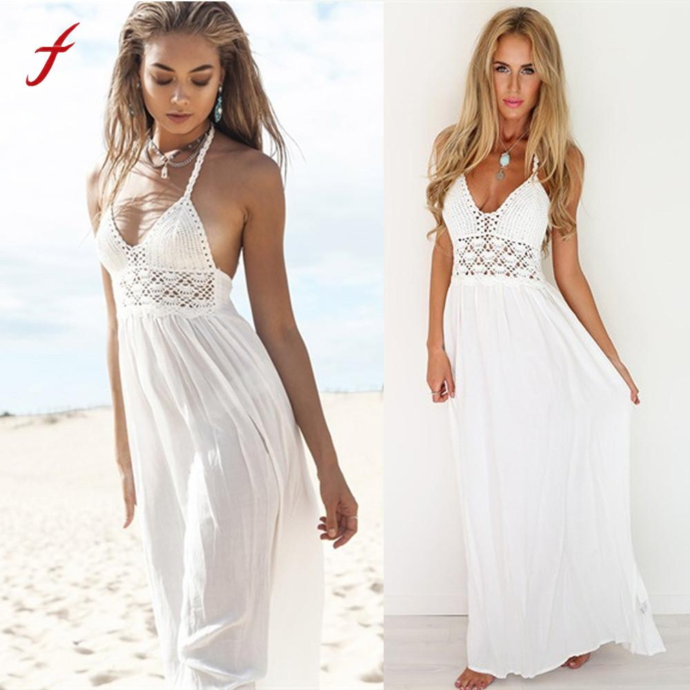 Summer Sexy Women Dress Casual Beach Crochet Sleeveless V Neck Backless  Bohemian Evening Party Solid White Maxi Long Dress Cute White Dresses For  Summer ... a048be99a