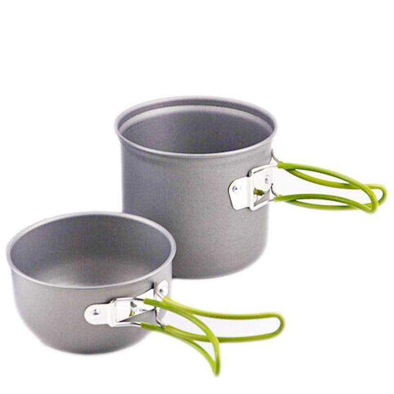 Camping Cookware Set Outdoor Aluminum Pot Pan Bowl With Foldable