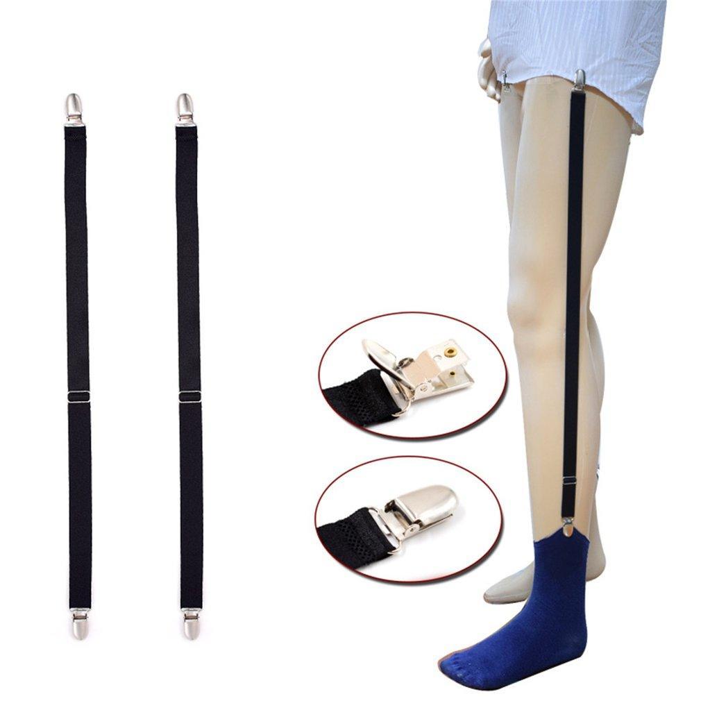 Men Shirt Stays Garters Elastic Polyester Adjustable Shirt Holder Belt Stirrup Style Suspender With Metal Clip