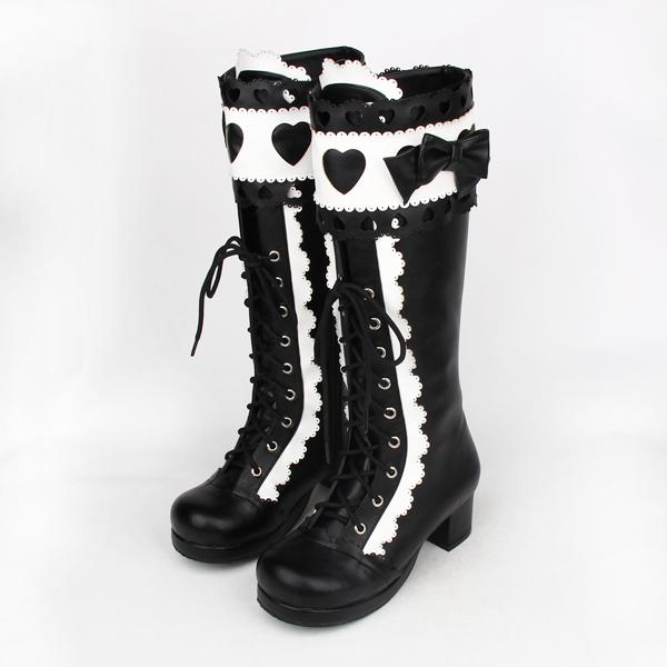 f600281b75a Lolita Russian Girls Boots Pink Shoes Bowknot Winter High Heels Lace Up  Black Leather Boots Women Punk Thick Bottom Cute Rain Boots For Women Wedge  Booties ...
