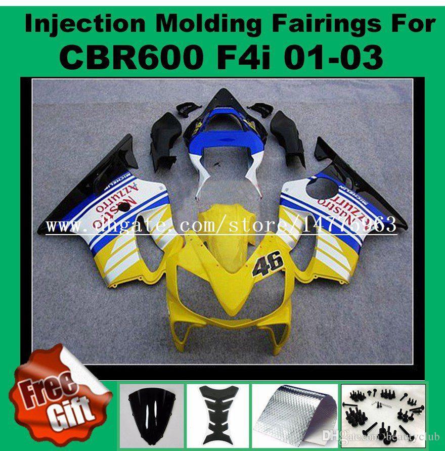 F4i Injection fairings For HONDA CBR600F4i CBR600RR F4i 01 02 03 CBR 600 F4i CBR 600F4i 2001 2002 2003 Fairing kits more color designs +gift