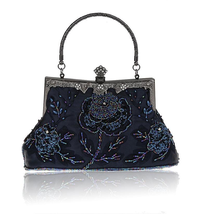 Navy Blue Chinese Women s Beaded Sequined Banquet Handbag Clutch Party  Bridal Evening Bag Hand Purse Makeup Bag 03331 1 E Handbag Brands Rosetti  Handbags ... f2bb127e215c