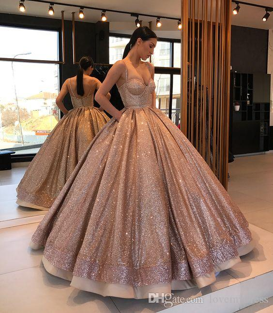 Rose Gold Sparkly Designer Ball Gown Quinceanera Prom Dresses With