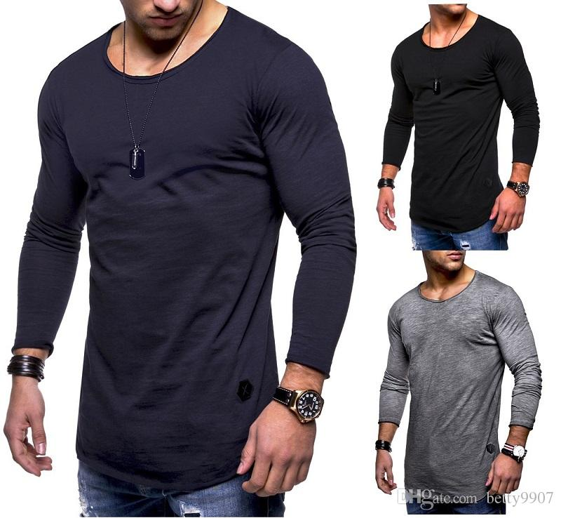 ce64fcbb1d Mens Designer T Shirts Tees Sports Jerseys Slim Fit Top Plus Size Long  Sleeve New 2018 O Neck Solid Spring Autumn Clothes Designer Mens T Shirt  Really Cool ...