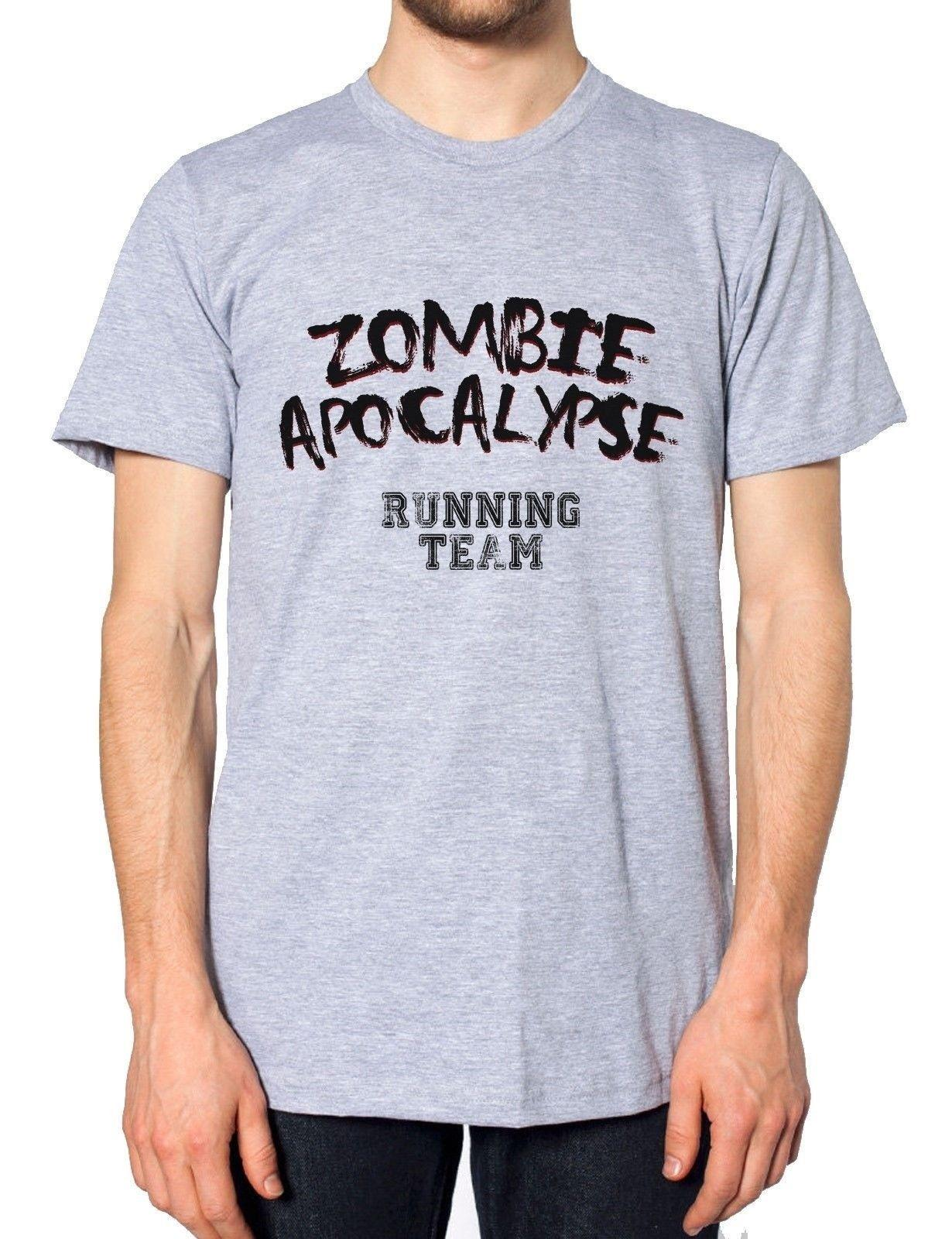 Zombie Apocalypse Running Team Funny Men Tshirt Dead Hardest Part