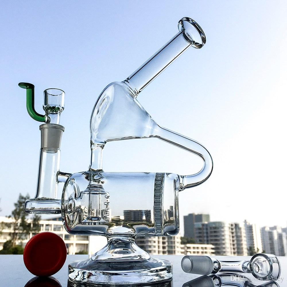 Unique Glass Bong Barrel Perc Water Pipe Chamber Recycler Bongs Honeycomb Percolator Dab Rig Complicated Recycler Bongs WP143