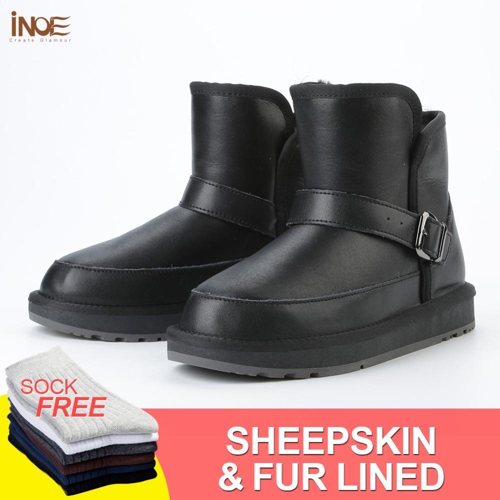 b037bb76664e INOE Casual Sheepskin Leather Wool Fur Lined Winter Snow Boots For Women  Flats Short Winter Shoes Non Slip Sole Waterproof Black Chelsea Boots Women  Monkey ...