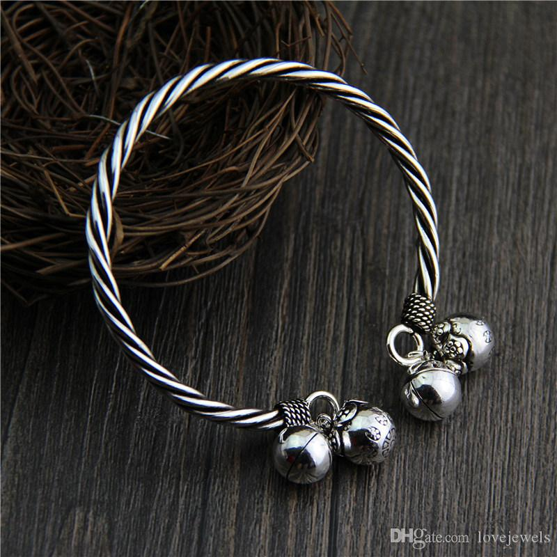a77700158c8 Handmade Vintage Thai Silver Bracelet 925 Sterling Silver Ladies Do Old  Vintage Cuff Twist Twist Bell Bracelet Snap Jewelry China Goods Woman  Bracelet ...