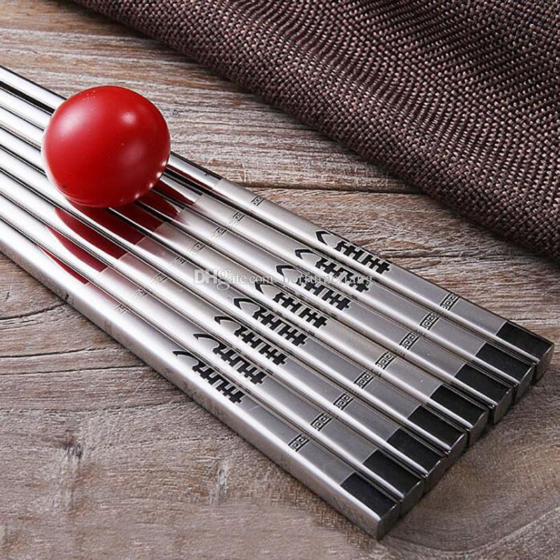 Double Happiness Chopsticks 304 Stainless Steel Silver Antiskid Chinese Reusable Wedding Chopsticks Party Favor Gifts ZA6975