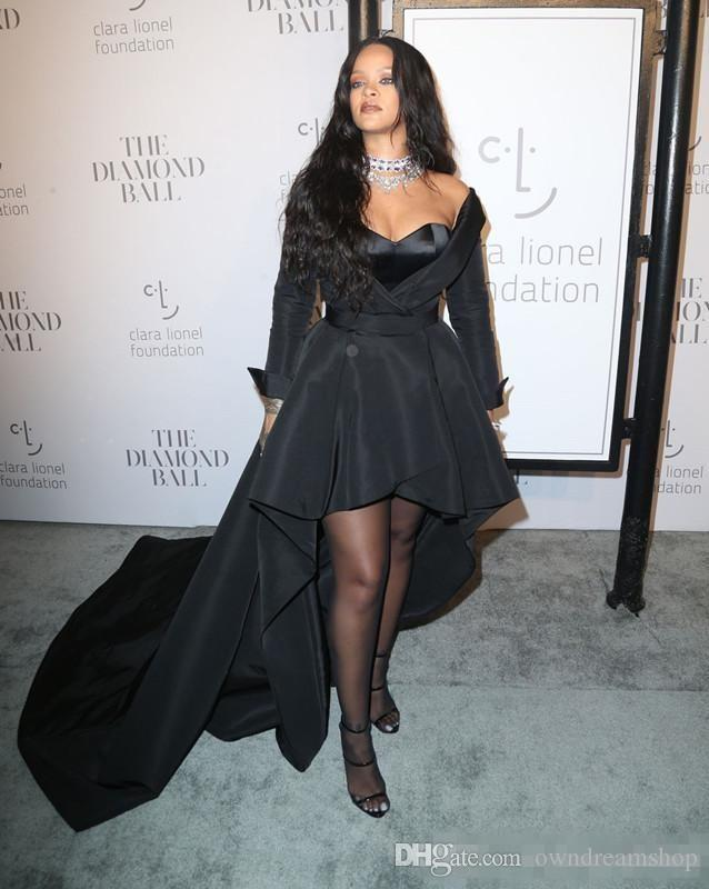 2018 Rihanna Formal Dresses Sweetheart Long Sleeve High Low Style Prom Dress Black Satin Celebrity Evening Gowns For Special Occasion